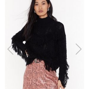 Cable Knit Fringe Sweater NWOT
